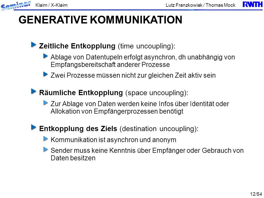 Klaim / X-Klaim 12/54 Lutz Franzkowiak / Thomas Mock Zeitliche Entkopplung (time uncoupling): Ablage von Datentupeln erfolgt asynchron, dh unabhängig