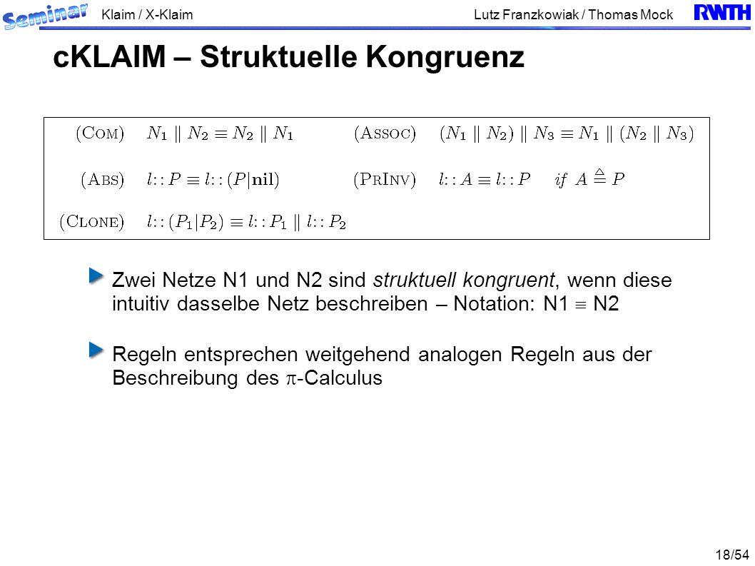 Klaim / X-Klaim 18/54 Lutz Franzkowiak / Thomas Mock Zwei Netze N1 und N2 sind struktuell kongruent, wenn diese intuitiv dasselbe Netz beschreiben – Notation: N1 N2 Regeln entsprechen weitgehend analogen Regeln aus der Beschreibung des -Calculus cKLAIM – Struktuelle Kongruenz