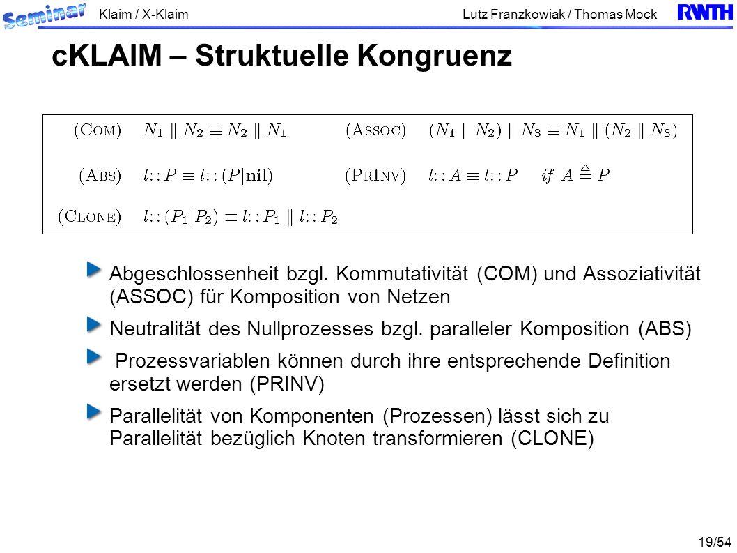 Klaim / X-Klaim 19/54 Lutz Franzkowiak / Thomas Mock Abgeschlossenheit bzgl. Kommutativität (COM) und Assoziativität (ASSOC) für Komposition von Netze