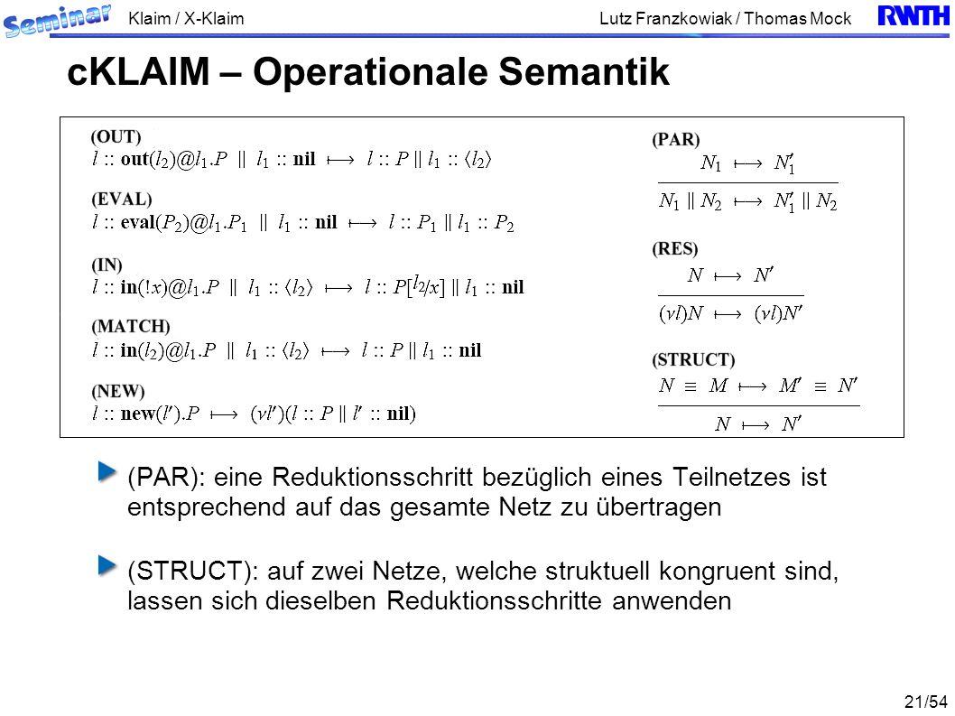 Klaim / X-Klaim 21/54 Lutz Franzkowiak / Thomas Mock (PAR): eine Reduktionsschritt bezüglich eines Teilnetzes ist entsprechend auf das gesamte Netz zu übertragen (STRUCT): auf zwei Netze, welche struktuell kongruent sind, lassen sich dieselben Reduktionsschritte anwenden cKLAIM – Operationale Semantik