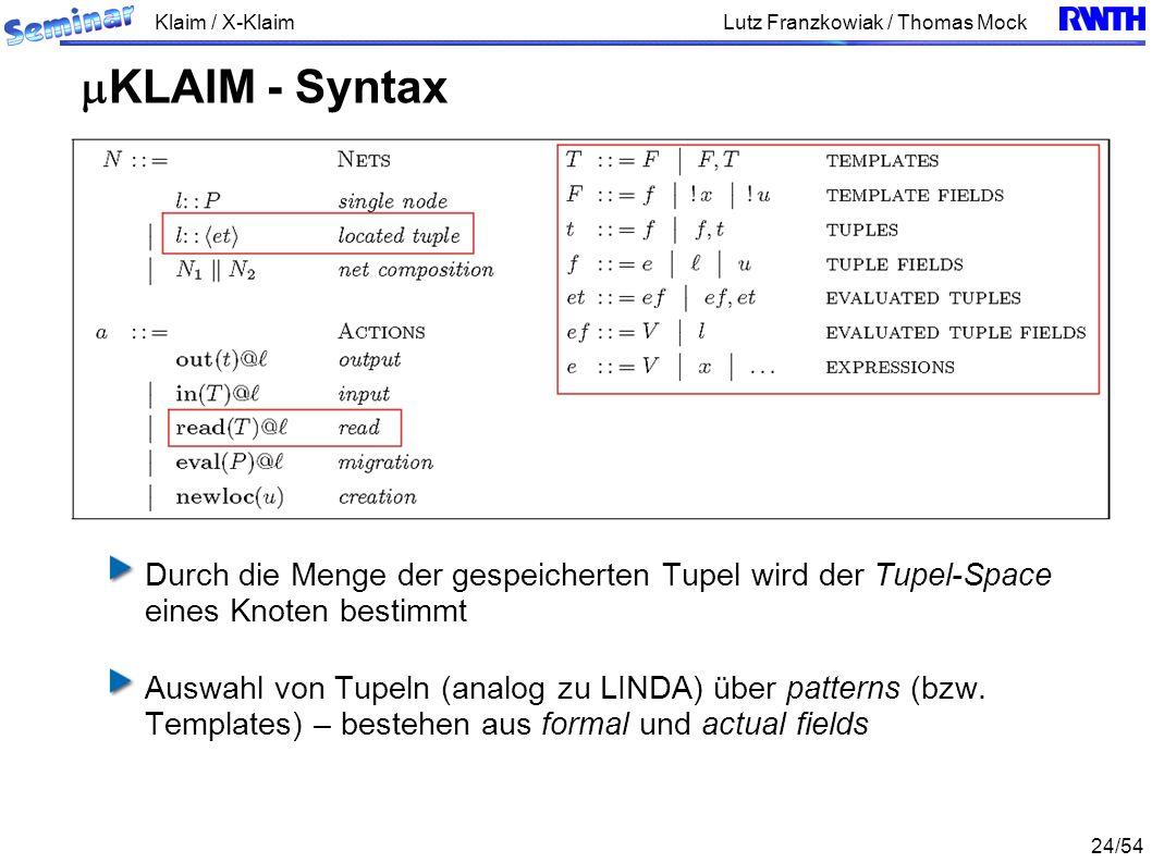Klaim / X-Klaim 24/54 Lutz Franzkowiak / Thomas Mock Durch die Menge der gespeicherten Tupel wird der Tupel-Space eines Knoten bestimmt Auswahl von Tupeln (analog zu LINDA) über patterns (bzw.