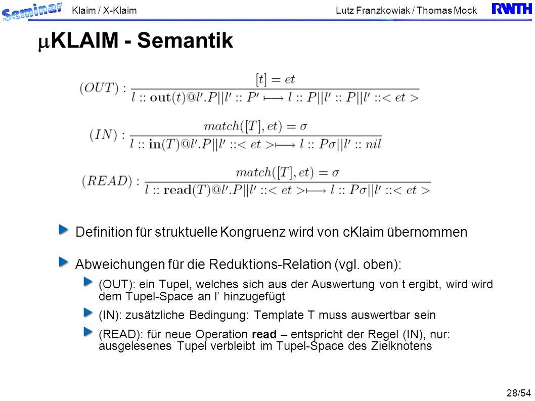 Klaim / X-Klaim 28/54 Lutz Franzkowiak / Thomas Mock Definition für struktuelle Kongruenz wird von cKlaim übernommen Abweichungen für die Reduktions-Relation (vgl.