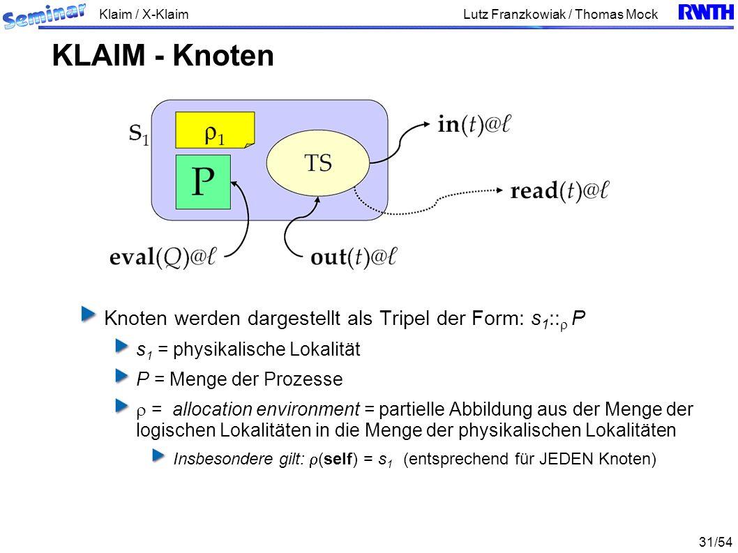 Klaim / X-Klaim 31/54 Lutz Franzkowiak / Thomas Mock Knoten werden dargestellt als Tripel der Form: s 1 :: P s 1 = physikalische Lokalität P = Menge der Prozesse = allocation environment = partielle Abbildung aus der Menge der logischen Lokalitäten in die Menge der physikalischen Lokalitäten Insbesondere gilt: (self) = s 1 (entsprechend für JEDEN Knoten) KLAIM - Knoten