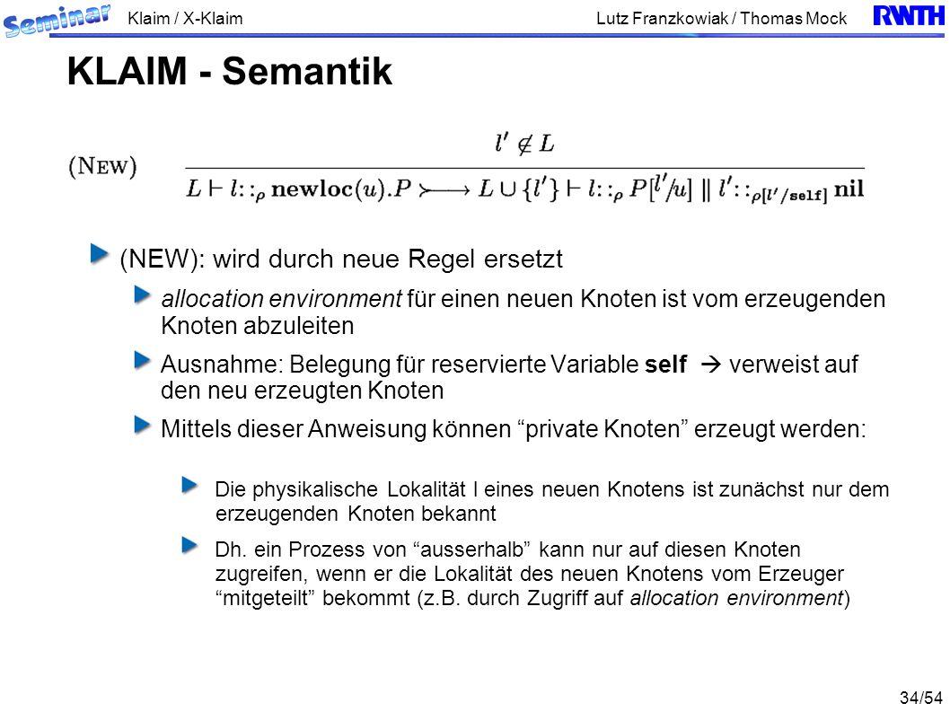 Klaim / X-Klaim 34/54 Lutz Franzkowiak / Thomas Mock (NEW): wird durch neue Regel ersetzt allocation environment für einen neuen Knoten ist vom erzeugenden Knoten abzuleiten Ausnahme: Belegung für reservierte Variable self verweist auf den neu erzeugten Knoten Mittels dieser Anweisung können private Knoten erzeugt werden: Die physikalische Lokalität l eines neuen Knotens ist zunächst nur dem erzeugenden Knoten bekannt Dh.