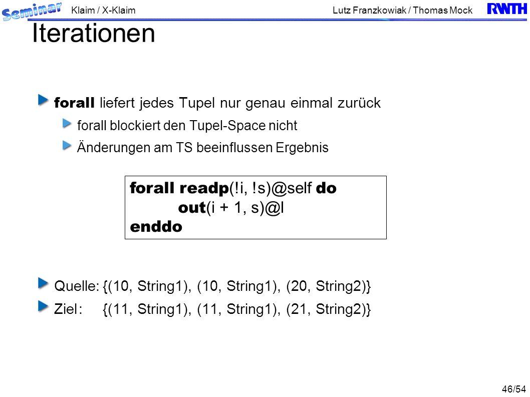 Klaim / X-Klaim 46/54 Lutz Franzkowiak / Thomas Mock Iterationen forall liefert jedes Tupel nur genau einmal zurück forall blockiert den Tupel-Space nicht Änderungen am TS beeinflussen Ergebnis Quelle:{(10, String1), (10, String1), (20, String2)} Ziel:{(11, String1), (11, String1), (21, String2)} forall readp (!i, !s)@self do out (i + 1, s)@l enddo