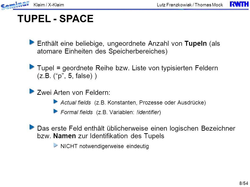 Klaim / X-Klaim 9/54 Lutz Franzkowiak / Thomas Mock Tupel-Space besitzt Eigenschaften eines Assoziativspeichers Zugriff auf die gespeicherten Daten über einen Werte- bzw.
