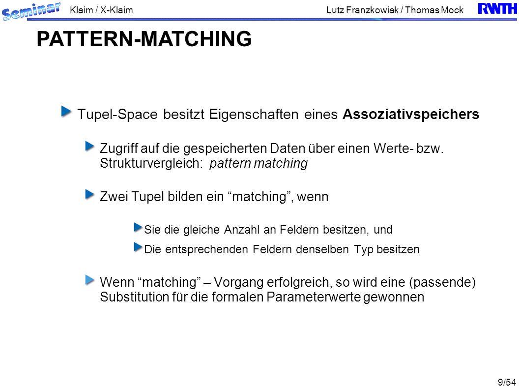 Klaim / X-Klaim 9/54 Lutz Franzkowiak / Thomas Mock Tupel-Space besitzt Eigenschaften eines Assoziativspeichers Zugriff auf die gespeicherten Daten üb