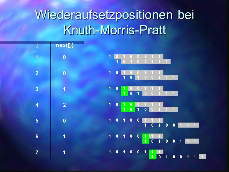 Knuth-Morris-Pratt å Verschiebung um mehrere Positionen.