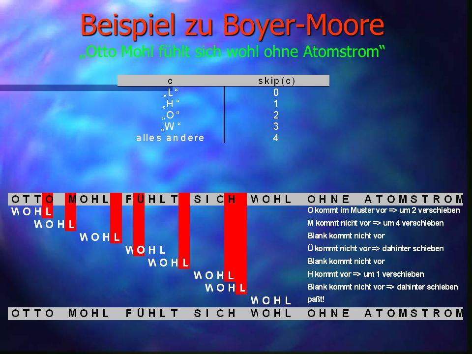 Boyer-Moore å Schnell und einfach å Verschiebung von links nach rechts å Vergleich beginnt rechts.
