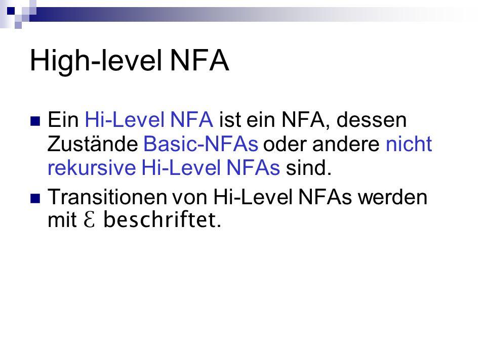 High-level NFA Ein Hi-Level NFA ist ein NFA, dessen Zustände Basic-NFAs oder andere nicht rekursive Hi-Level NFAs sind. Transitionen von Hi-Level NFAs