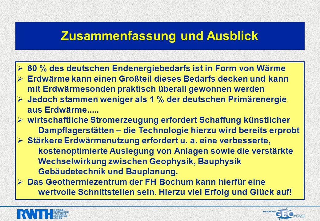 Zusammenfassung und Ausblick 60 % des deutschen Endenergiebedarfs ist in Form von Wärme Erdwärme kann einen Großteil dieses Bedarfs decken und kann mit Erdwärmesonden praktisch überall gewonnen werden Jedoch stammen weniger als 1 % der deutschen Primärenergie aus Erdwärme.....