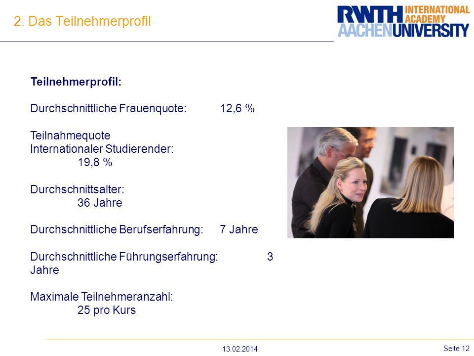 13.02.2014 Seite 12 2. Das Teilnehmerprofil Teilnehmerprofil: Durchschnittliche Frauenquote: 12,6 % Teilnahmequote Internationaler Studierender: 19,8