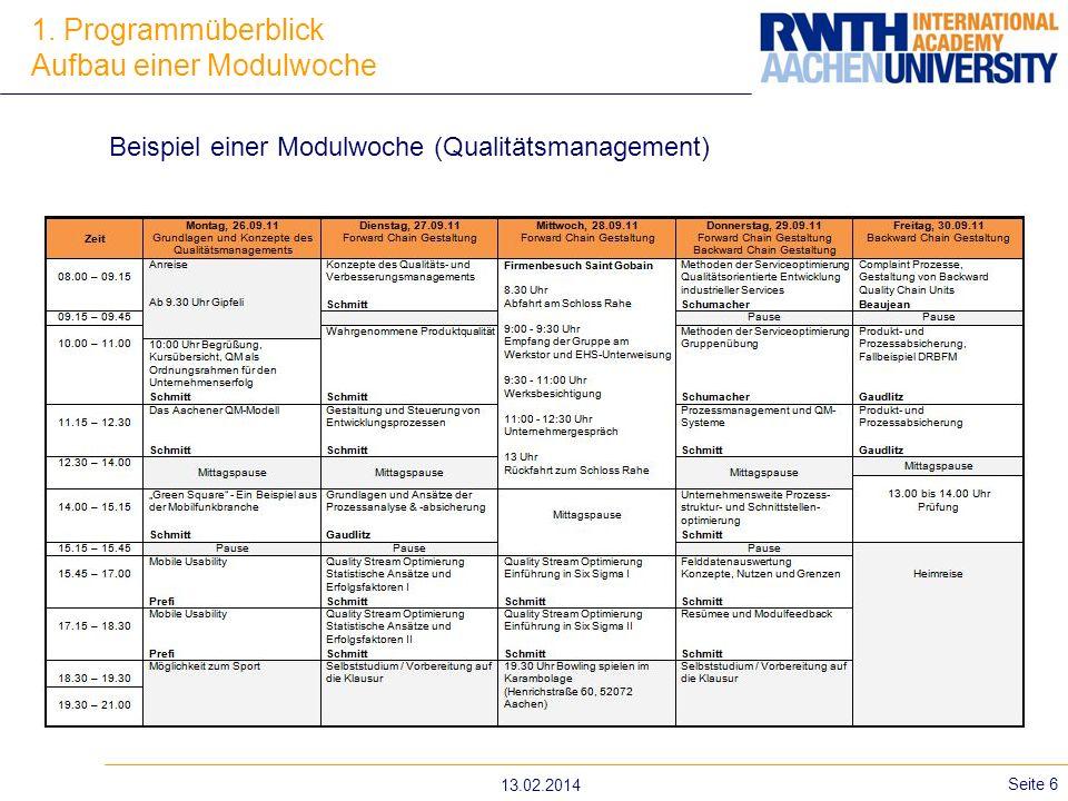 13.02.2014 Seite 6 1. Programmüberblick Aufbau einer Modulwoche Beispiel einer Modulwoche (Qualitätsmanagement)