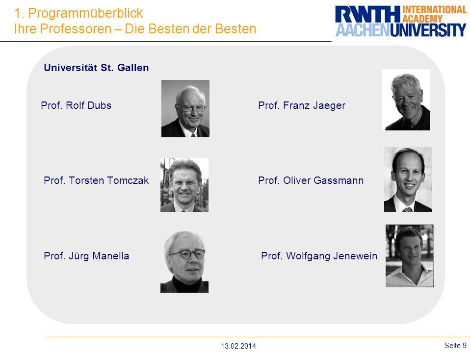 13.02.2014 Seite 9 Universität St. Gallen Prof. Rolf DubsProf. Franz Jaeger Prof. Torsten Tomczak Prof. Oliver Gassmann Prof. Jürg Manella Prof. Wolfg