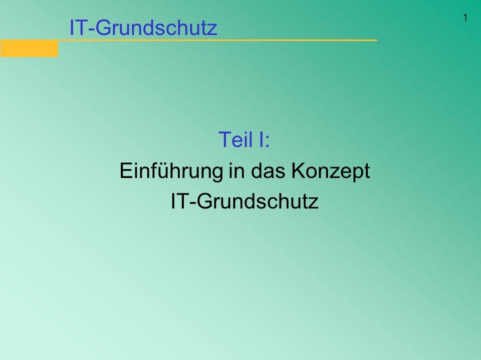 1 IT-Grundschutz Teil I: Einführung in das Konzept IT-Grundschutz