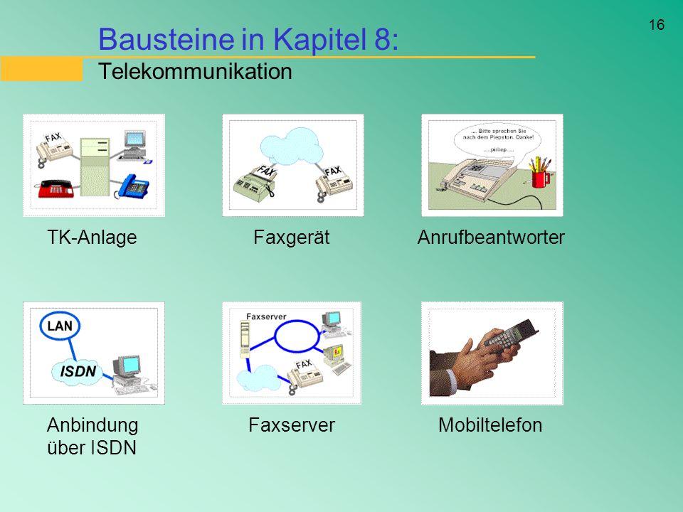 16 Bausteine in Kapitel 8: Telekommunikation TK-AnlageFaxgerätAnrufbeantworter Anbindung über ISDN FaxserverMobiltelefon