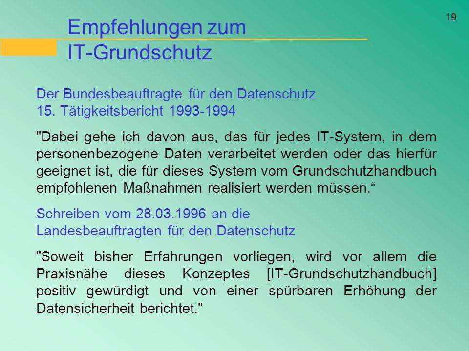 19 Empfehlungen zum IT-Grundschutz Der Bundesbeauftragte für den Datenschutz 15. Tätigkeitsbericht 1993-1994