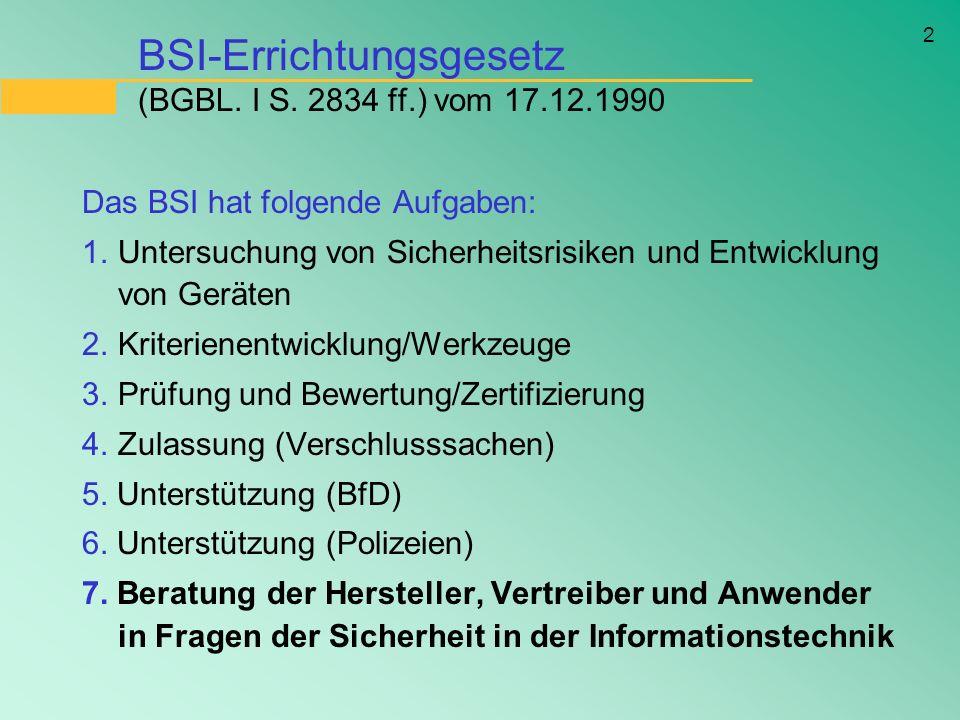 2 BSI-Errichtungsgesetz (BGBL. I S. 2834 ff.) vom 17.12.1990 Das BSI hat folgende Aufgaben: 1.Untersuchung von Sicherheitsrisiken und Entwicklung von