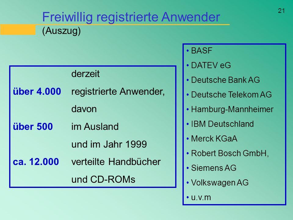 21 Freiwillig registrierte Anwender (Auszug) BASF DATEV eG Deutsche Bank AG Deutsche Telekom AG Hamburg-Mannheimer IBM Deutschland Merck KGaA Robert B