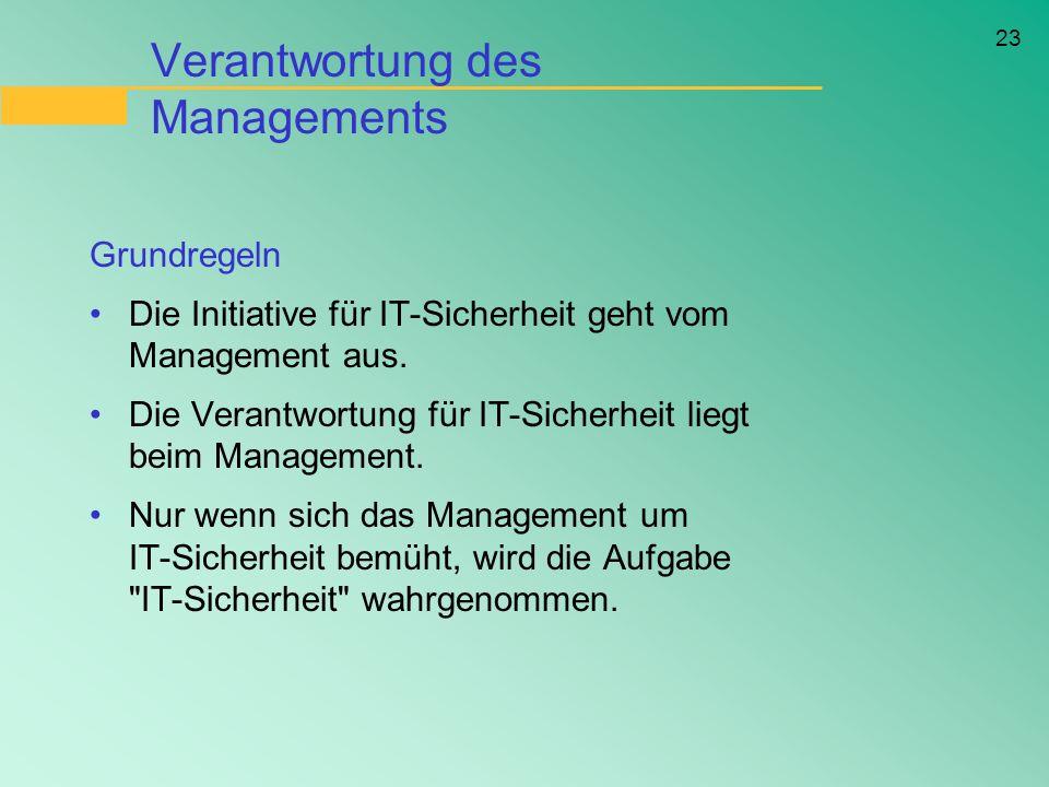 23 Verantwortung des Managements Grundregeln Die Initiative für IT-Sicherheit geht vom Management aus. Die Verantwortung für IT-Sicherheit liegt beim