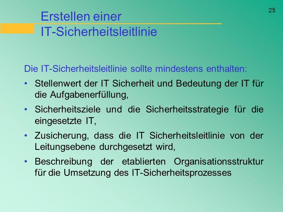25 Erstellen einer IT-Sicherheitsleitlinie Die IT-Sicherheitsleitlinie sollte mindestens enthalten: Stellenwert der IT Sicherheit und Bedeutung der IT