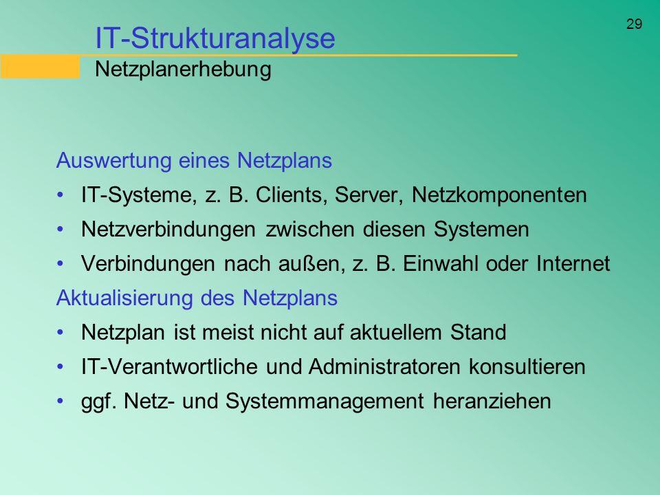 29 IT-Strukturanalyse Netzplanerhebung Auswertung eines Netzplans IT-Systeme, z. B. Clients, Server, Netzkomponenten Netzverbindungen zwischen diesen