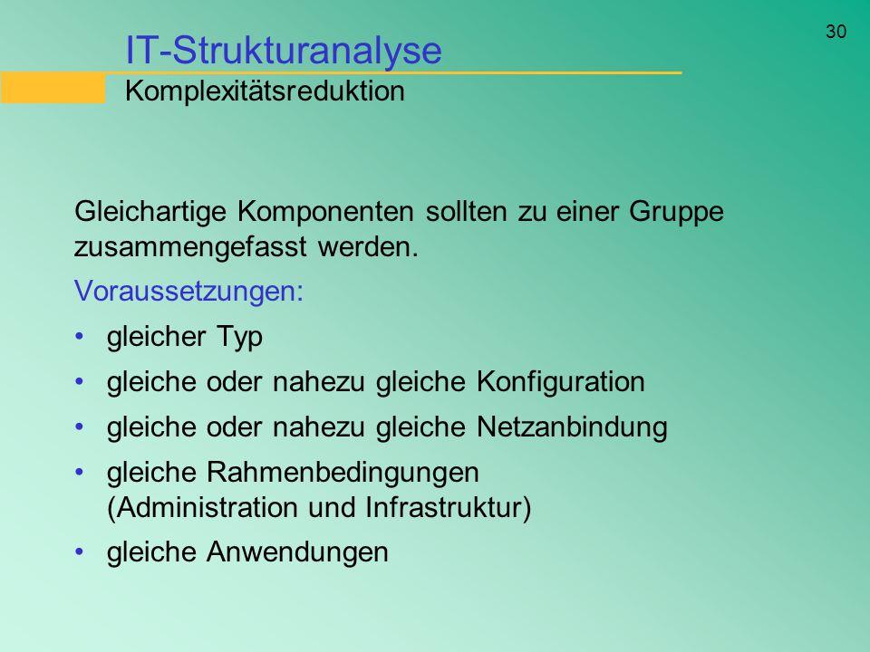30 IT-Strukturanalyse Komplexitätsreduktion Gleichartige Komponenten sollten zu einer Gruppe zusammengefasst werden. Voraussetzungen: gleicher Typ gle