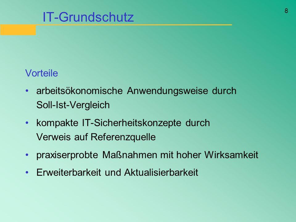 8 IT-Grundschutz Vorteile arbeitsökonomische Anwendungsweise durch Soll-Ist-Vergleich kompakte IT-Sicherheitskonzepte durch Verweis auf Referenzquelle