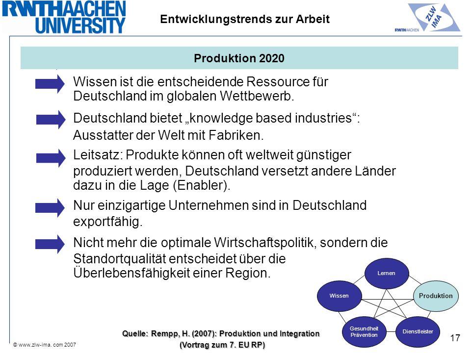 © www.zlw-ima. com 2007 17 Wissen ist die entscheidende Ressource für Deutschland im globalen Wettbewerb. Deutschland bietet knowledge based industrie