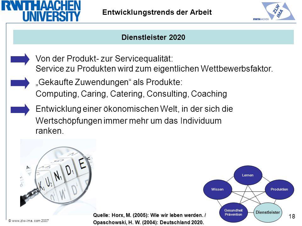 © www.zlw-ima. com 2007 18 Von der Produkt- zur Servicequalität: Service zu Produkten wird zum eigentlichen Wettbewerbsfaktor. Gekaufte Zuwendungen al