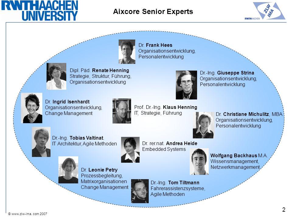 © www.zlw-ima. com 2007 2 Aixcore Senior Experts Dipl. Päd. Renate Henning Strategie, Struktur, Führung, Organisationsentwicklung Dr. Frank Hees Organ