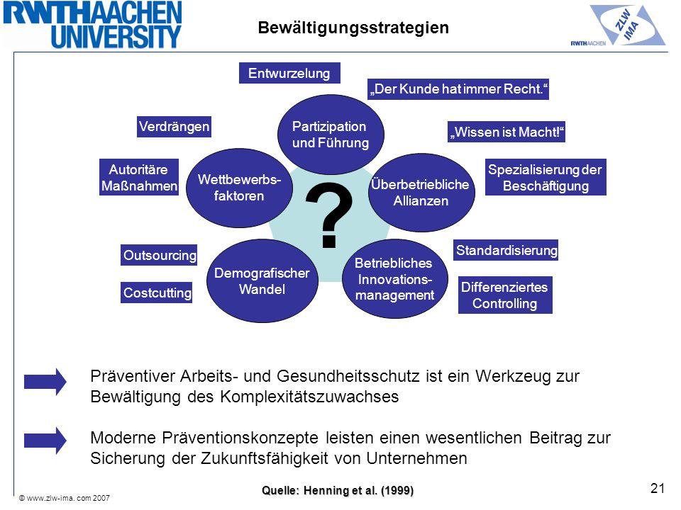 © www.zlw-ima. com 2007 21 ? Quelle: Henning et al. (1999) Bewältigungsstrategien Entwurzelung Der Kunde hat immer Recht. Wissen ist Macht! Spezialisi