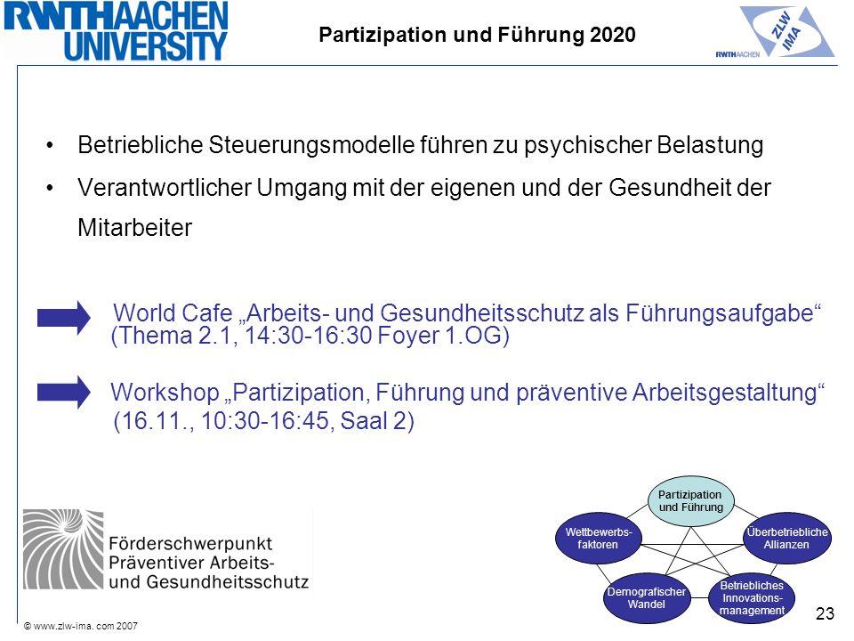 © www.zlw-ima. com 2007 23 Betriebliche Steuerungsmodelle führen zu psychischer Belastung Verantwortlicher Umgang mit der eigenen und der Gesundheit d
