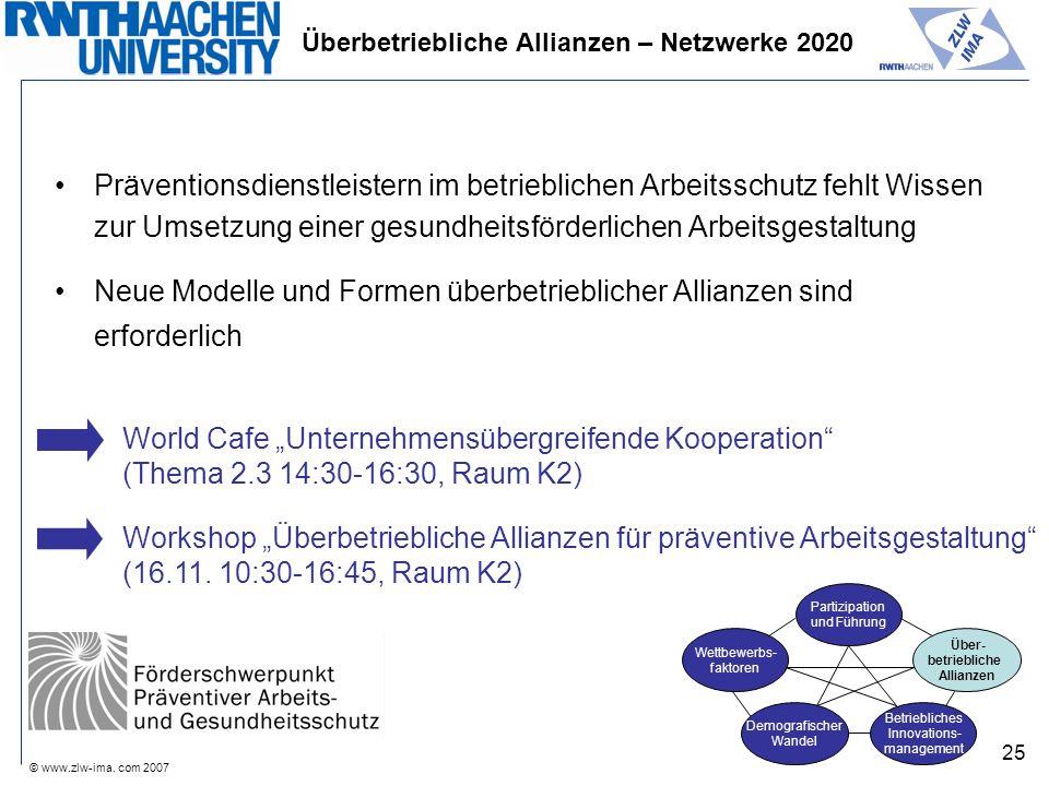 © www.zlw-ima. com 2007 25 Präventionsdienstleistern im betrieblichen Arbeitsschutz fehlt Wissen zur Umsetzung einer gesundheitsförderlichen Arbeitsge