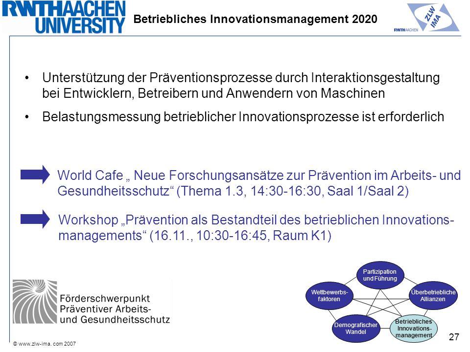 © www.zlw-ima. com 2007 27 Betriebliches Innovationsmanagement 2020 Unterstützung der Präventionsprozesse durch Interaktionsgestaltung bei Entwicklern