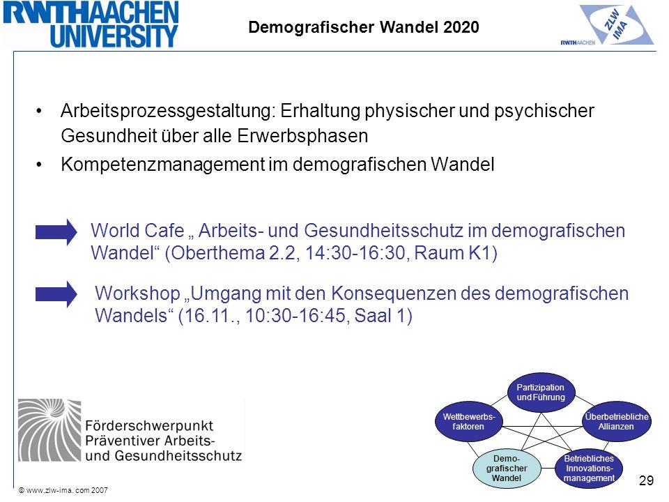 © www.zlw-ima. com 2007 29 Arbeitsprozessgestaltung: Erhaltung physischer und psychischer Gesundheit über alle Erwerbsphasen Kompetenzmanagement im de