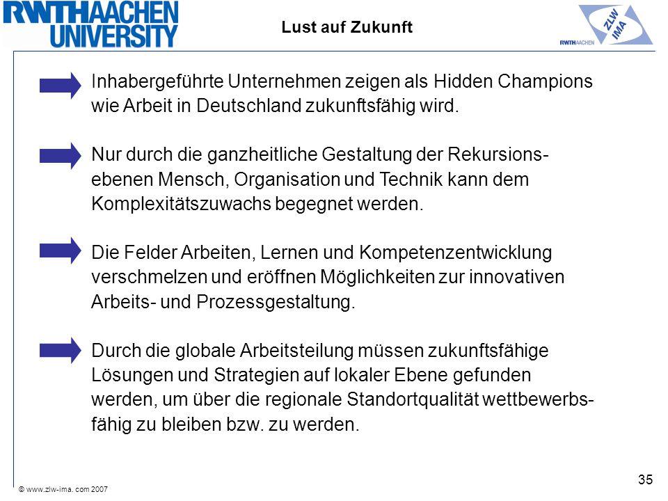 © www.zlw-ima. com 2007 35 Lust auf Zukunft Inhabergeführte Unternehmen zeigen als Hidden Champions wie Arbeit in Deutschland zukunftsfähig wird. Nur