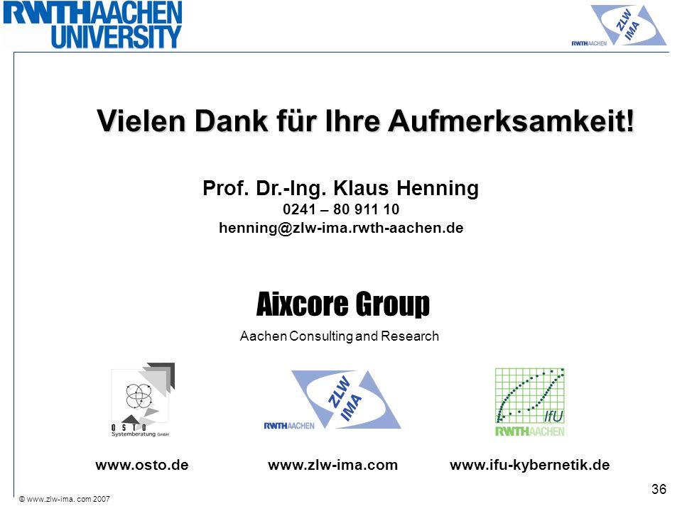 © www.zlw-ima. com 2007 36 Vielen Dank für Ihre Aufmerksamkeit! Prof. Dr.-Ing. Klaus Henning 0241 – 80 911 10 henning@zlw-ima.rwth-aachen.de www.osto.