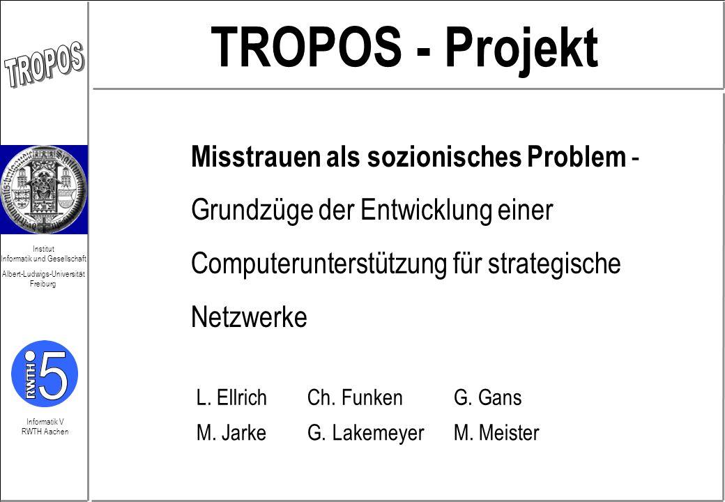 Informatik V RWTH Aachen Institut Informatik und Gesellschaft Albert-Ludwigs-Universität Freiburg TROPOS - Projekt Misstrauen als sozionisches Problem