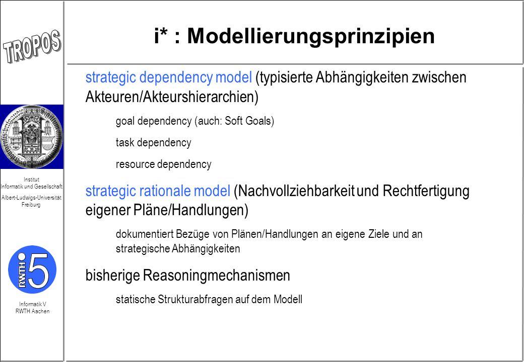 Informatik V RWTH Aachen Institut Informatik und Gesellschaft Albert-Ludwigs-Universität Freiburg i* : Modellierungsprinzipien strategic dependency mo