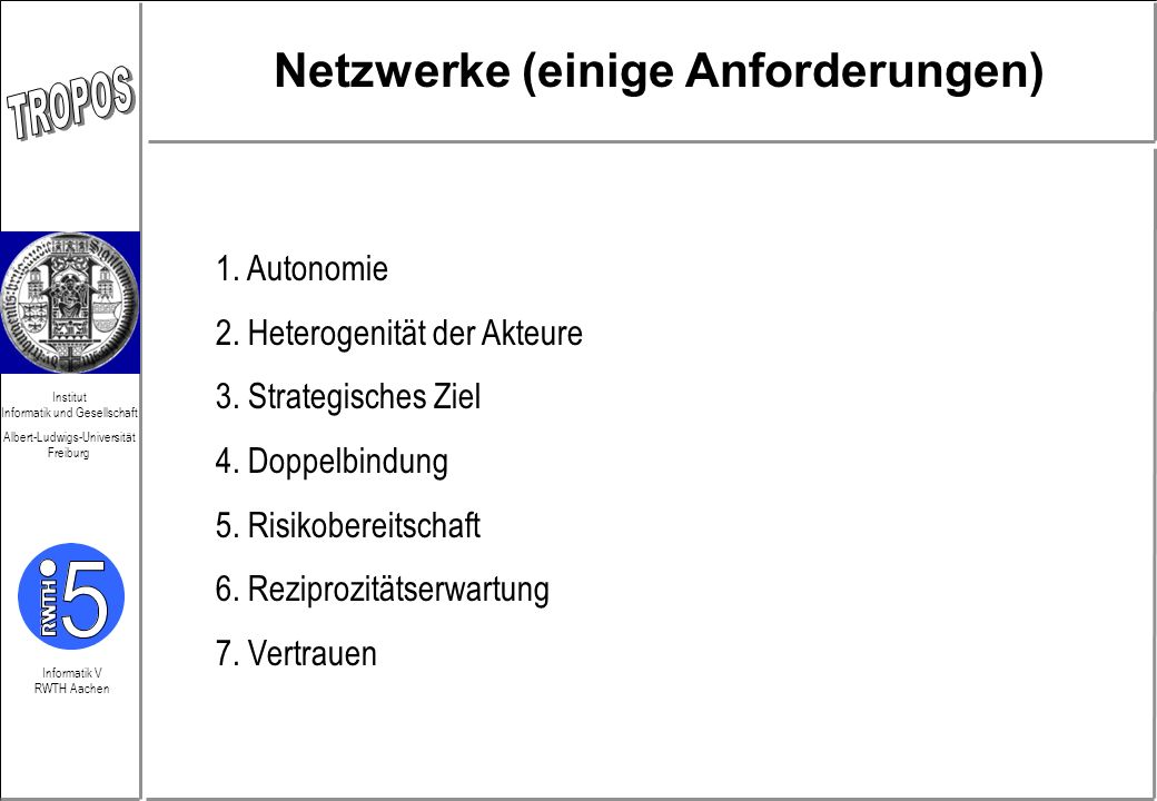 Informatik V RWTH Aachen Institut Informatik und Gesellschaft Albert-Ludwigs-Universität Freiburg Netzwerke (einige Anforderungen) 1. Autonomie 2. Het