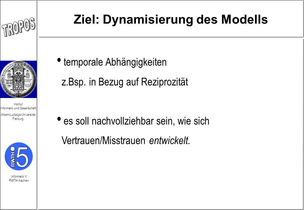 Informatik V RWTH Aachen Institut Informatik und Gesellschaft Albert-Ludwigs-Universität Freiburg Ziel: Dynamisierung des Modells temporale Abhängigke