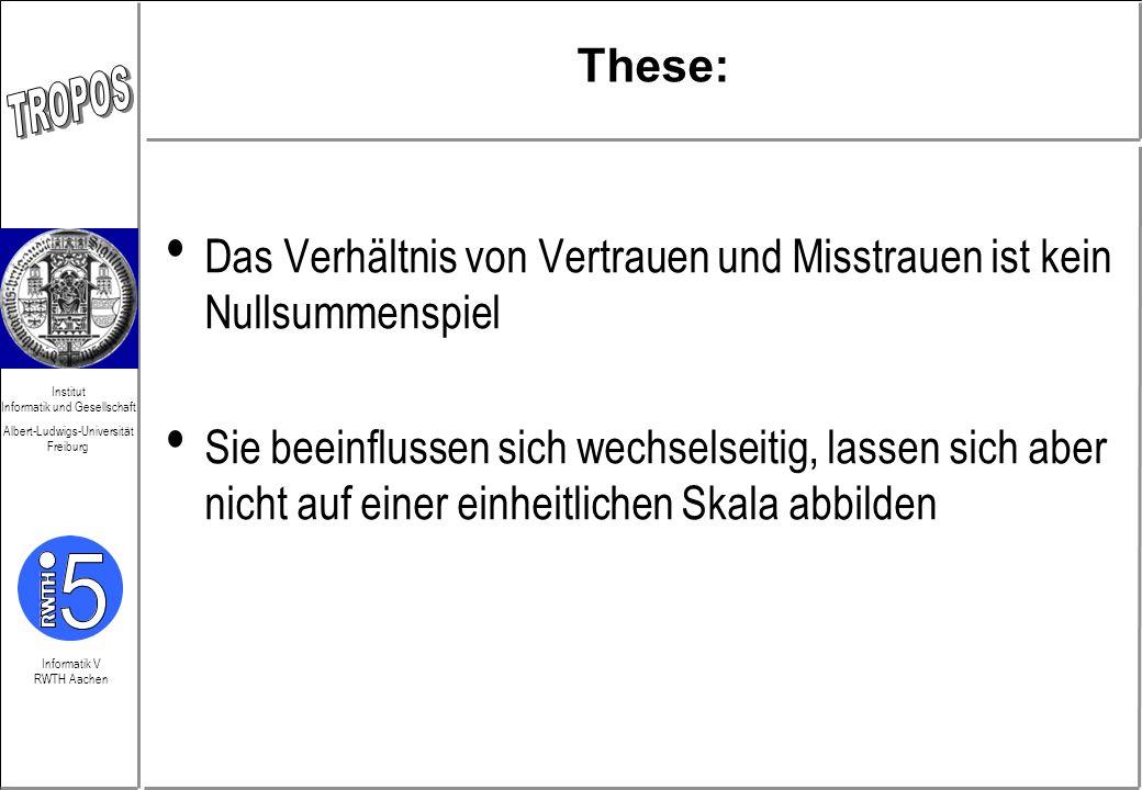 Informatik V RWTH Aachen Institut Informatik und Gesellschaft Albert-Ludwigs-Universität Freiburg These: Das Verhältnis von Vertrauen und Misstrauen i