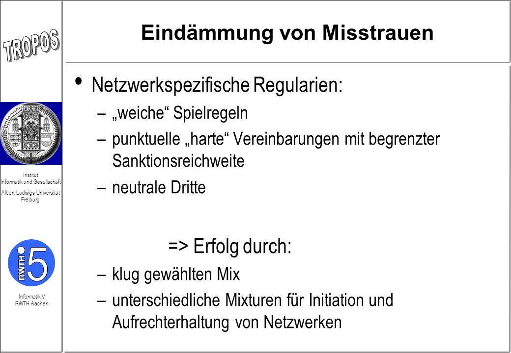 Informatik V RWTH Aachen Institut Informatik und Gesellschaft Albert-Ludwigs-Universität Freiburg Eindämmung von Misstrauen Netzwerkspezifische Regula