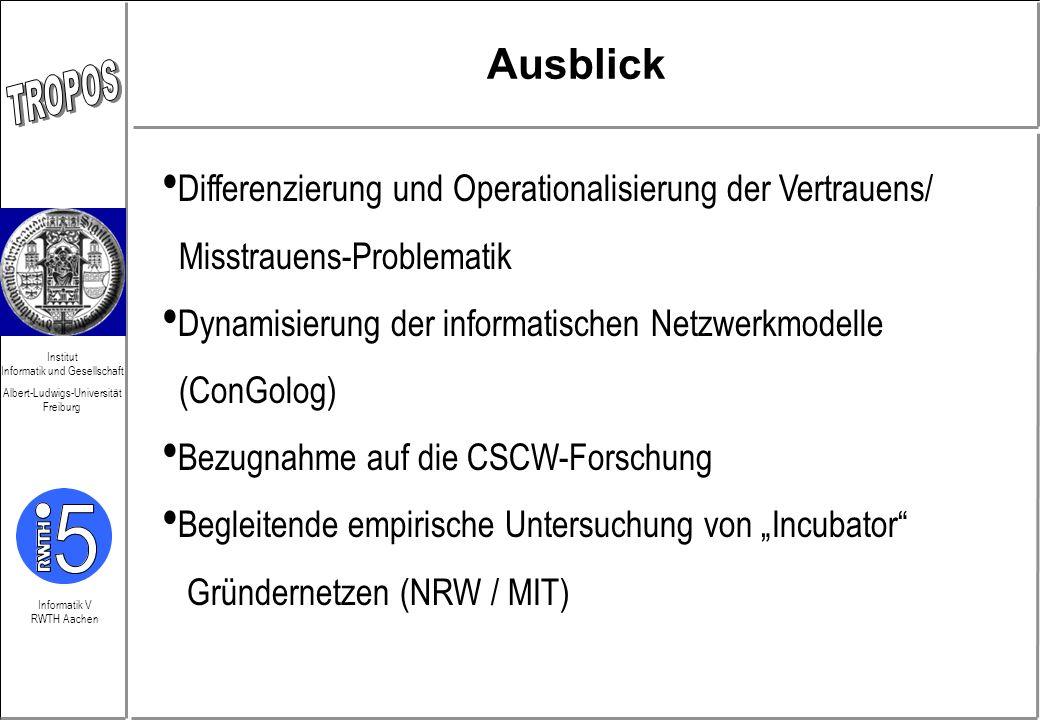Informatik V RWTH Aachen Institut Informatik und Gesellschaft Albert-Ludwigs-Universität Freiburg Ausblick Differenzierung und Operationalisierung der
