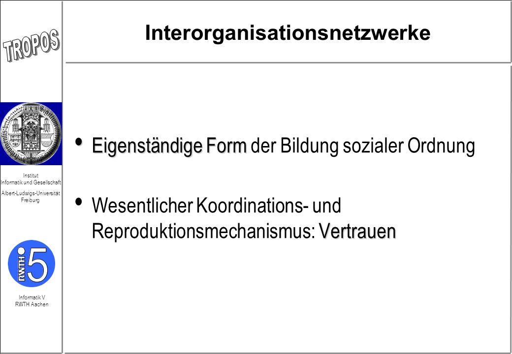 Informatik V RWTH Aachen Institut Informatik und Gesellschaft Albert-Ludwigs-Universität Freiburg Interorganisationsnetzwerke Eigenständige Form Eigen