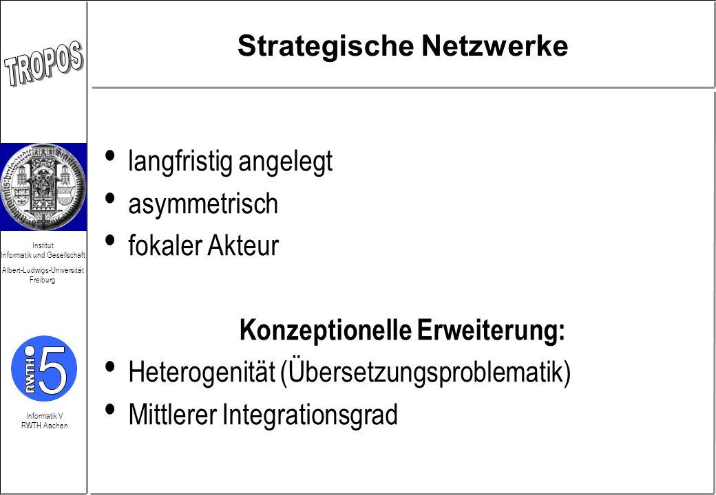 Informatik V RWTH Aachen Institut Informatik und Gesellschaft Albert-Ludwigs-Universität Freiburg Strategische Netzwerke langfristig angelegt asymmetr