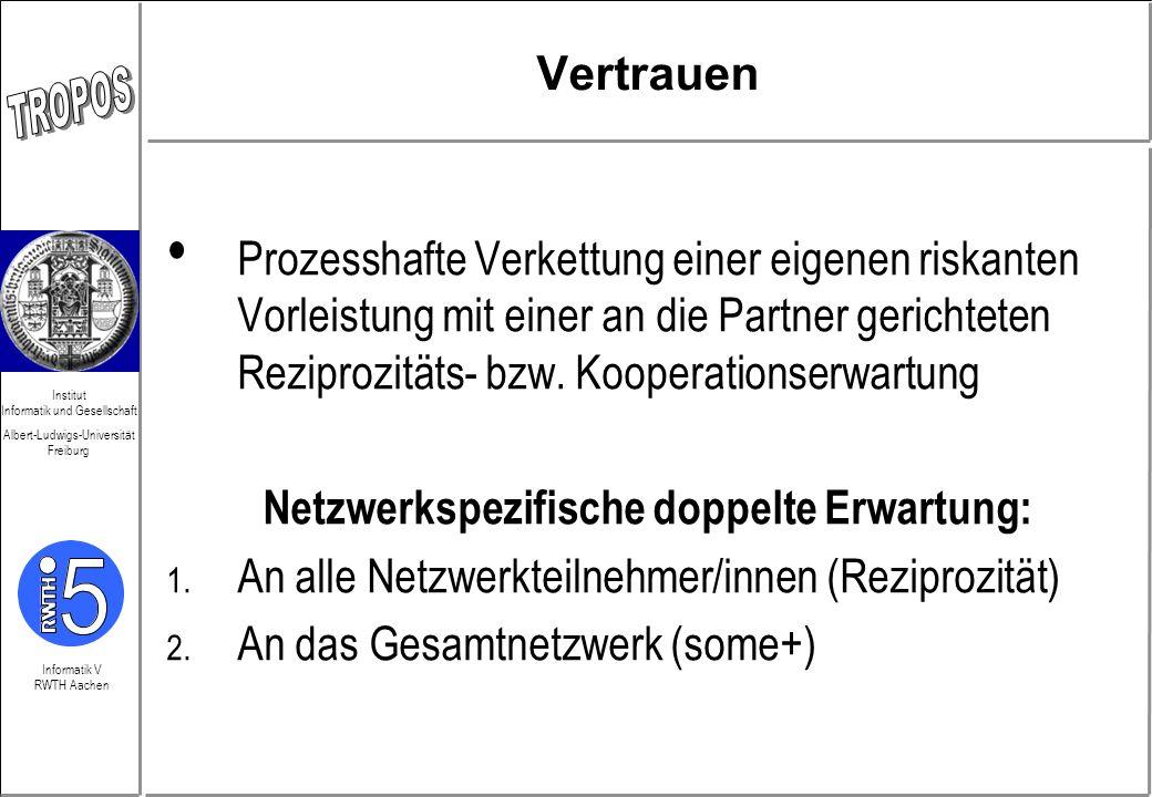 Informatik V RWTH Aachen Institut Informatik und Gesellschaft Albert-Ludwigs-Universität Freiburg Vertrauen Prozesshafte Verkettung einer eigenen risk