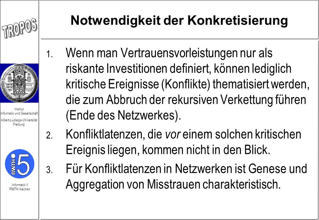 Informatik V RWTH Aachen Institut Informatik und Gesellschaft Albert-Ludwigs-Universität Freiburg Begriff des Misstrauens Dient zur Analyse von netzwerkspezifischer Konfliktlatenz Gefährdung Leistungsfähigkeit