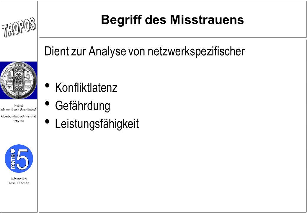Informatik V RWTH Aachen Institut Informatik und Gesellschaft Albert-Ludwigs-Universität Freiburg Begriff des Misstrauens Dient zur Analyse von netzwe